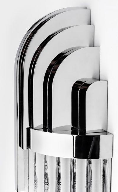 Broadway kinkiet lampa ścienna Art Deco detal chrom