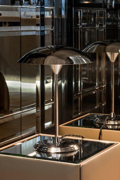 Zelda lampa stołowa Art Deco chrom