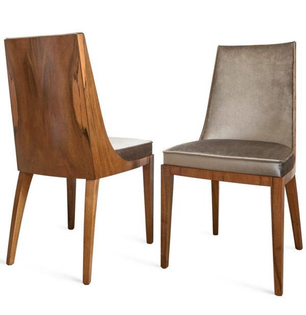 Krzesło w stylu art deco, lite drewno, tapicerowane