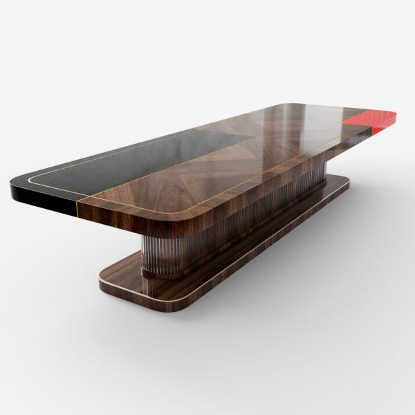 Duży stół art deco indywidualnie projektowany wzór blatu art deco