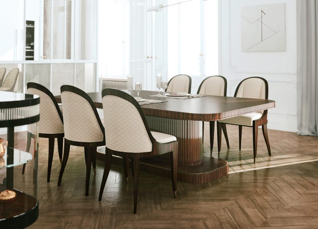 Jadalnia stół i krzesła Art Deco